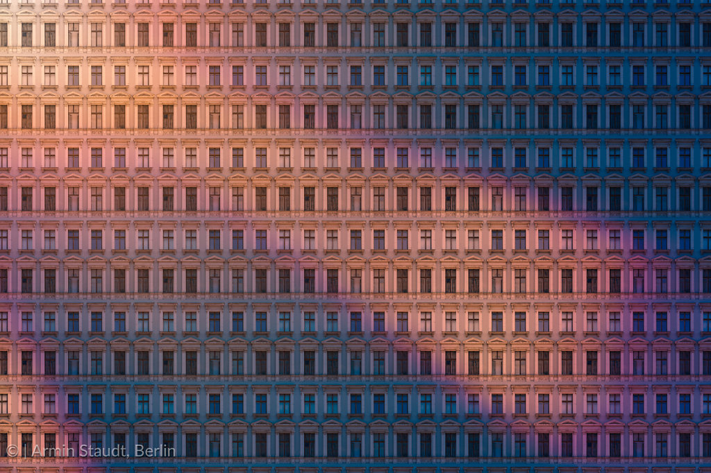 architectural pattern, reflected evening sun on an old berlin house