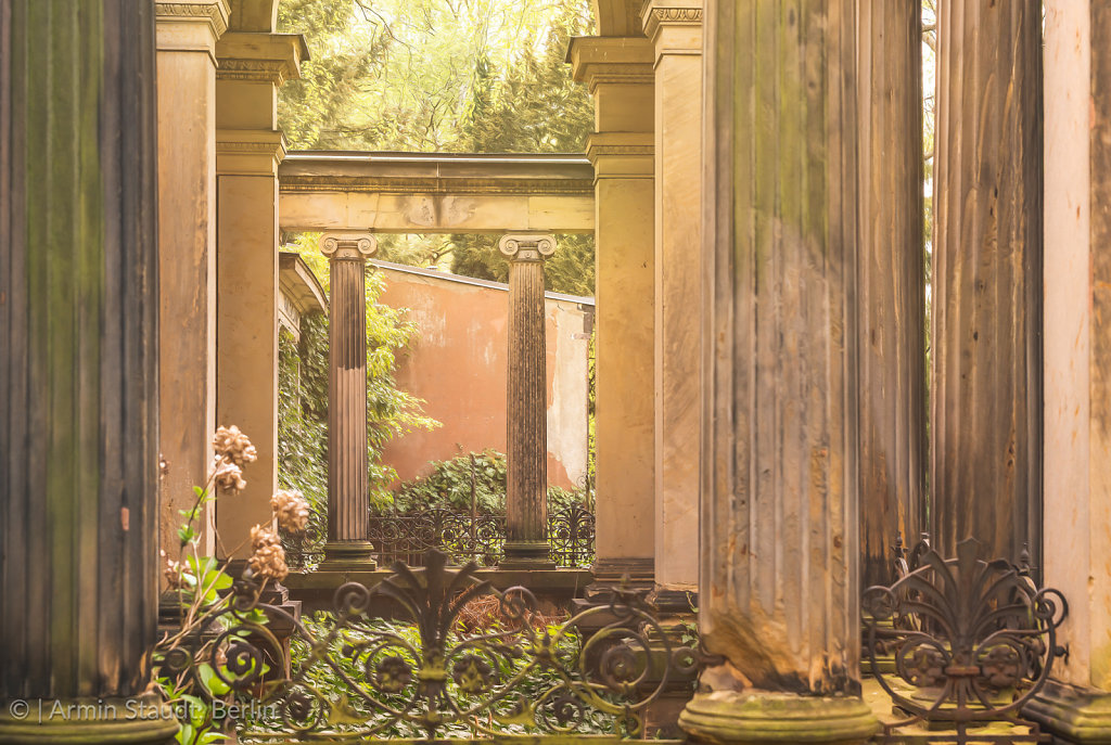 idyllic place, look through antique pillars