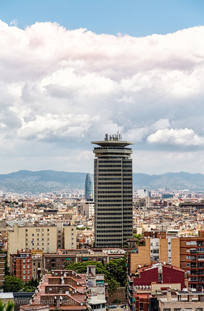 panorama of Barcelona with dramatic sky