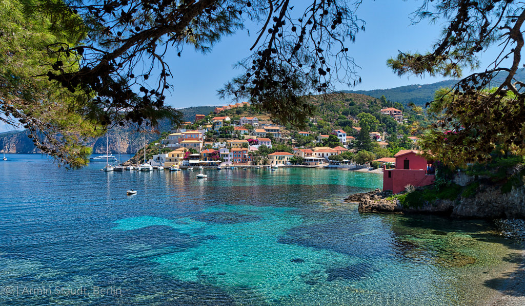 the famous village Assos on Kefalonia, Greece