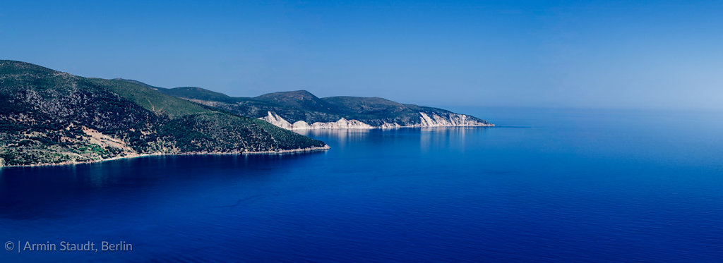 mediterranean panorama landscape, promontory in the deep blue se