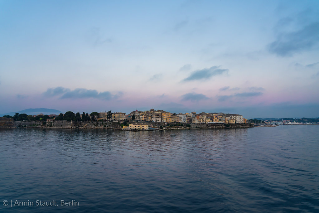 Corfu town from the sea at sunrise