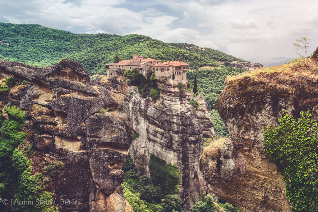 Monasteries of Meteora, Greece, built on huge rocks in a beautif