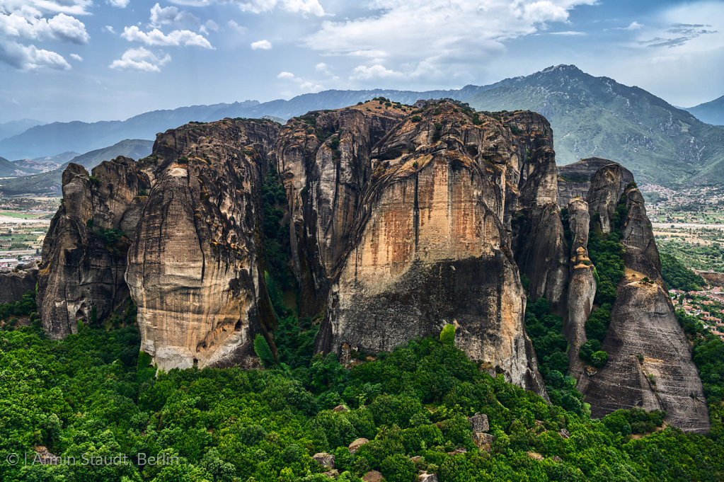 Giant rock in the mountain landscape of Meteora, Greece
